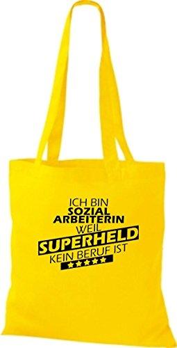 Stoffbeutel Ich bin Sozialarbeiterin, weil Superheld kein Beruf ist Goldgelb