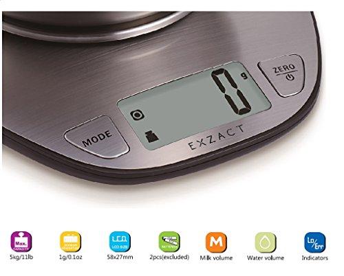 comprare on line EXZACT EX4350 Premium Bilancia Elettronica da Cucina ad Alta Precisione con Ampio Display in Acciaio Inossidabile con Ciotola per Mescolare - 5kg / 11lb prezzo