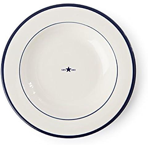 Lexington piatto fondo ceramica, colore: blu, confezione da 4