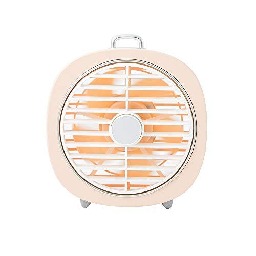 AmzGxp Cool Mini Fan Stumm Retro Windy Rotating Abdeckung USB Schlafzimmer Desktop Led Nachtlicht 2 in1 Komfort (Color : Pink) -