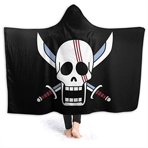 Pkulas, coperta con cappuccio, super morbida e leggera, in pile di poliestere, anti-palla, con bandiera dei pirati, per uomini, donne e bambini (3 misure), poliestere, nero, 50