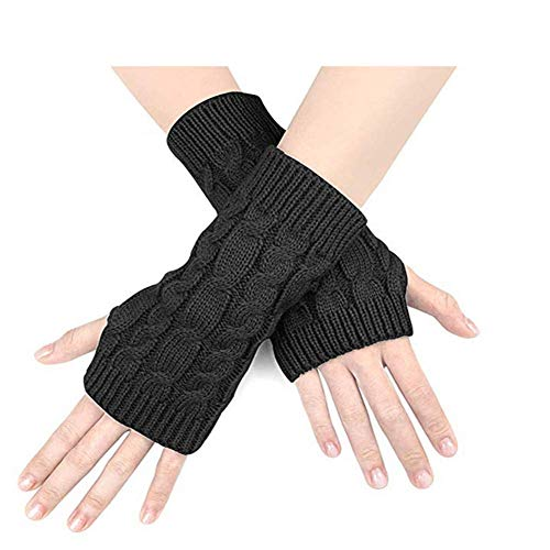 HYLH 5 Paar Armlinge für Damen Women'sWinter Short Fingerless GlovesGestrickte ArmmanschettemitDaumenloch