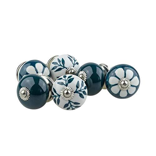 Möbelknopf Möbelknauf Möbelgriff 6er Set 066GN Muster Blume Weiß Grün - Jay Knopf Keramik Porzellan handbemalte Vintage Möbelknöpfe für Schrank, Schublade, Kommode, Tür -