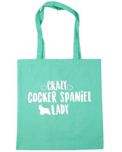 hippowarehouse-crazy-cocker-spaniel-lady-tote-shopping-gym-beach-bag-42cm-x38cm-10-litres