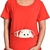 Mommy Cuddle Maternity Top Free Size Cotton Spandex Fabric- Screen Printed Bump Baby- Expands as per Requirement- Free Size Red