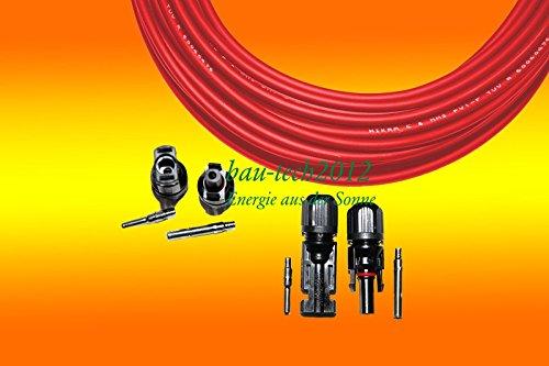 Solarkabel 6mm² ROT inkl. 2 Paar MC4 Steckern für PV Solar Photovoltaik Montage von bau-tech Solarenergie GmbH