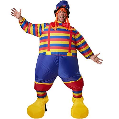 Aufblasbare Kostüm Clown - dressforfun 302360 - Aufblasbares Unisex Kostüm Clown, Buntes Clownskostüm mit Hosenträgern, Fliege und Hut