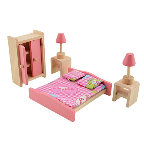 Demiawaking Delicate Bedroom Furniture Pink Wooden Dolls Toy Miniature Baby Nursery Room Crib Pretend Play Kids Children Gift