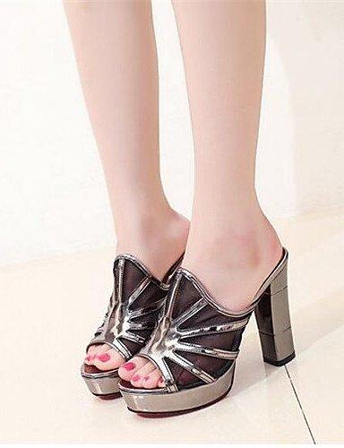 WSS 2016 Chaussures Femme-Soirée & Evénement-Noir / Argent-Gros Talon-Talons-Talons-Polyuréthane silver-us6.5-7 / eu37 / uk4.5-5 / cn37