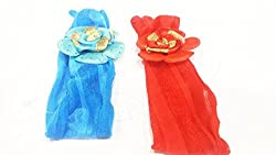 1stbabystore baby girl headband hairband cloth band hair accessories with design for newborn to 3 years,Red, Blue(2 pieces)