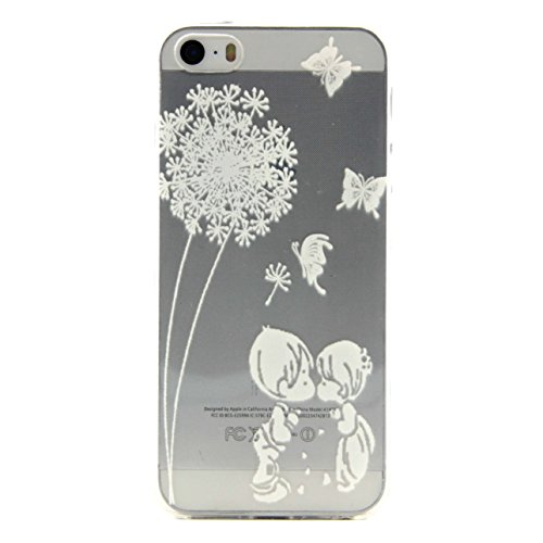 Custodia per iPhone 6 6S (4,7 Zoll),Cozy Hut ® Custodia Caso Case Cover Per iPhone 6 6S (4,7 Zoll) pollici Trasparente TPU Gel Silicone Bumper Protettivo Skin Custodia Ultra-sottile Coppie Dandelion D bambino dente di leone