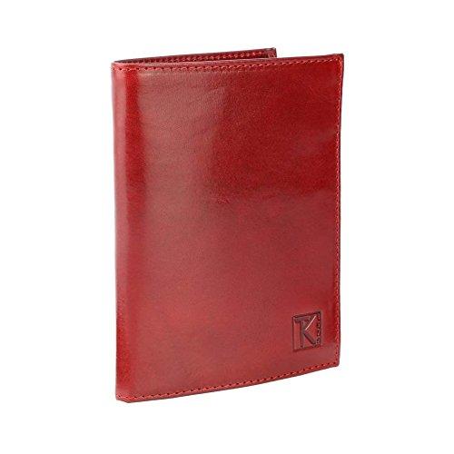 TK 1979 - Portefeuille homme TK08 cuir Italien ROUGE/ROSSO - Rouge, Cuir