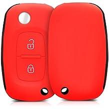 kwmobile Funda de silicona para llave plegable de 2 botones para coche Renault - cover de llave - key case en rojo