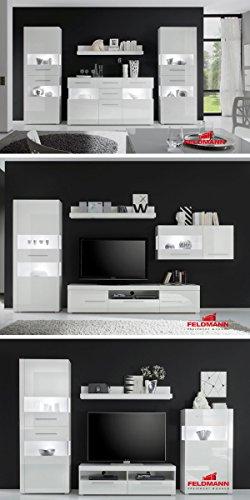 Wohnwand Anbauwand 440905 weiß / weiß Hochglanz 3-teilig - 3