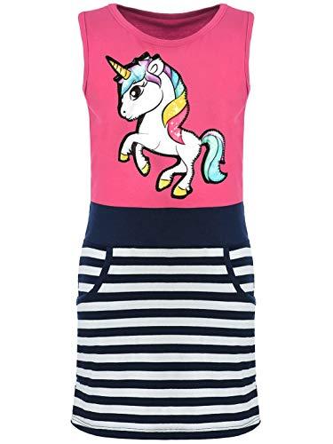 Kmisso Mädchen-Kleid Sommer-Kleid Kinder Kleid-er Ärmellos Einhorn LED Lichteffekt 30050 Pink 158