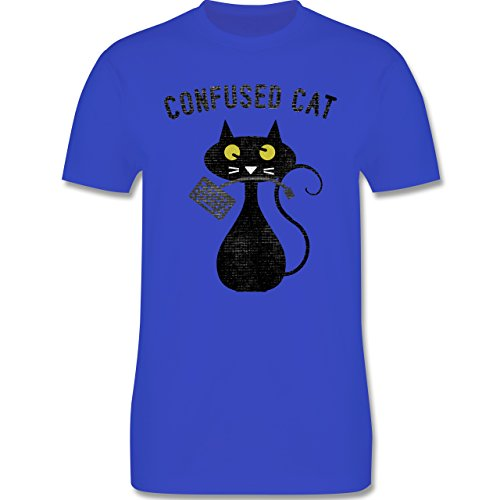 Statement Shirts - Confused Cat - Nerdy Cats - Herren Premium T-Shirt Royalblau