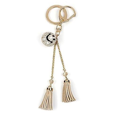 Happy Smile Key Ring Chain - Mavis's Diary Charm Rhinestone