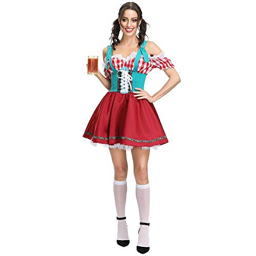 Shirt Wench Kostüm - Damenkostüm Oktoberfest Deutsches Bayerisches Biermädchen Drindl Tavern Wench Kostüm für Party, Rock, M