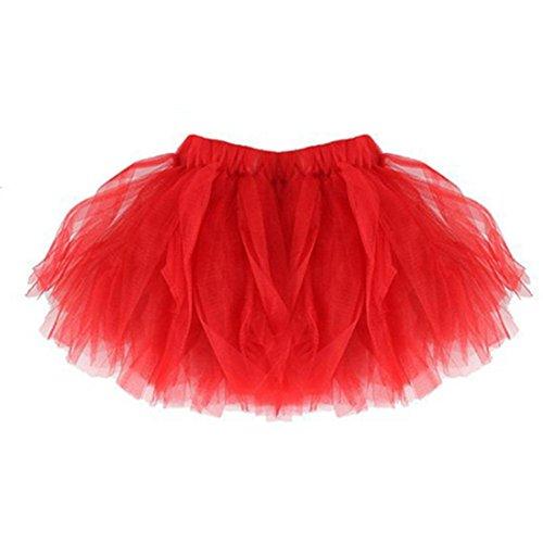 3-schicht-hochzeits-ring (Mädchen Rock, Dasongff Mädchen Petticoats Minirock Kurz Unterrock Tutu Unregelmäßig Tüll Mädchen Ballettrock Multi-Schichten Prinzessin Pettiskirt (One Size, Rot))
