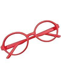 Hibote Redondo Gafas para niños - Gafas de lentes transparentes marco Geek/Nerd gafas con forma de coche gafas caso