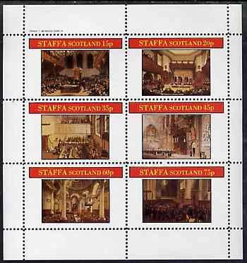 Staffa 1982 Regency England #2 perf sheetlet set of 6 values u/m SOCIAL HISTORY LAW LEGAL JandRStamps - Regency Bürobedarf