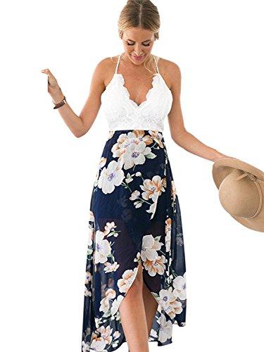 Minetom Damen Sommer Elegant Ärmellos Tiefem V-Ausschnitt Asymmetrisches Blumen Drucken Spitze Maxi Kleid Long Dress Strand Mehrfarbig