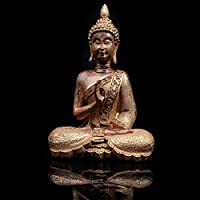 STEELEMENT Buddha Statue Sitting Ornament Gold Shawl With One Hand Up Decoration Living Room