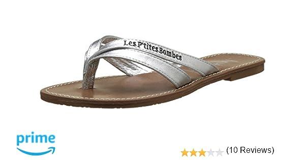 6dde1d29f15e2 Les P tites Bombes Kalinda, Tongs Femme, (Argent), 36 EU  Amazon.fr   Chaussures et Sacs
