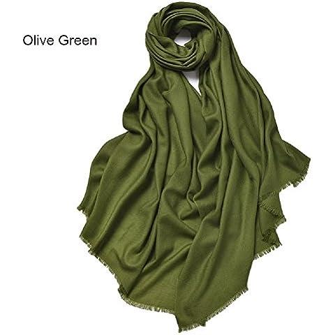 Meglio sorridere pianura 100% lana scialle lungo mantello mantello morbido moda Scraves Exlarge femminile 90 *