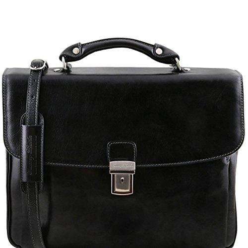 Tuscany Leather Alessandria - Cartable porte ordinateur TL SMART multi compartiments en cuir - TL141448 (Miel) Noir