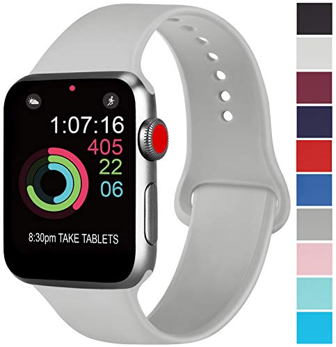 AK kompatibel Apple Watch Armband 42mm 38mm 44mm 40mm, Weiche Silikon Sport Ersatz Armband kompatibel iWatch Series 4, Series 3, Series 2, Series 1 S/M M/L (04 Grau, 42/44mm S/M)