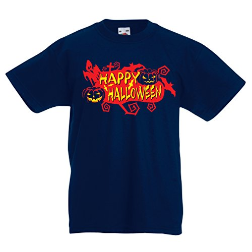 Kinder T-Shirt Owls, Bats, Ghosts, Pumpkins - Halloween outfit full of Spookiness (5-6 years Dunkelblau - Halo-halloween-maske