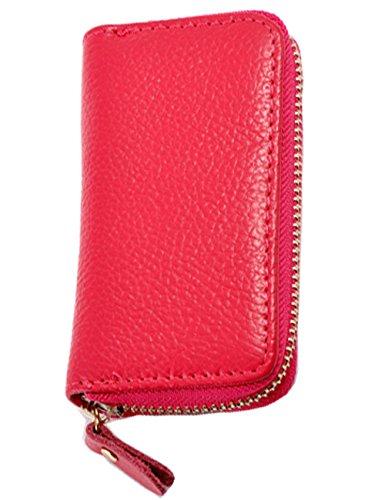 iSuperb® Leder Schlüsseletui Schlüsseltasche Autoschlüssel Tasche und Geldbörse für Herren und Damen in 3 Farbe 11.5x6.5x2.2cm (Rose) Rose