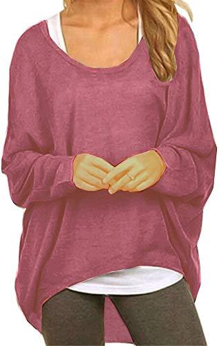 Meyison Damen Lose Asymmetrisch Sweatshirt Pullover Bluse Oberteile Oversized Tops T-Shirt Lila Rot L -