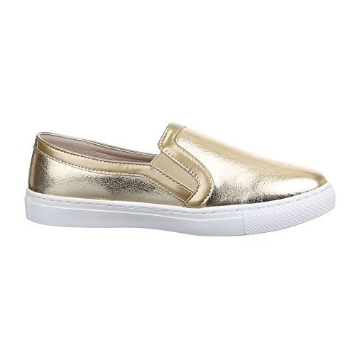Ital-Design Sneakers Low Damenschuhe Sneakers Low Sneakers Freizeitschuhe Gold