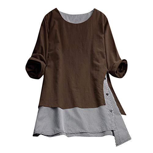 VEMOW Sommer Herbst Elegante Damen Plus Größe Dot Print Lose Baumwolle Casual Täglichen Party Strandurlaub Kurzarm Shirt Vintage Bluse Pulli(Y2-Braun, EU-46/C-3XL)
