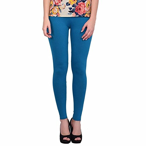 Leggings Jeggings for Women Girls Premium Quality Cotton Polyster Western Wear Stretchable Ankel Length Solids Color Free Size Compatible for Sports-wear, Yoga-wear, Arobics-wear , Party-wear, Casual-wear peacock XXXL  available at amazon for Rs.299