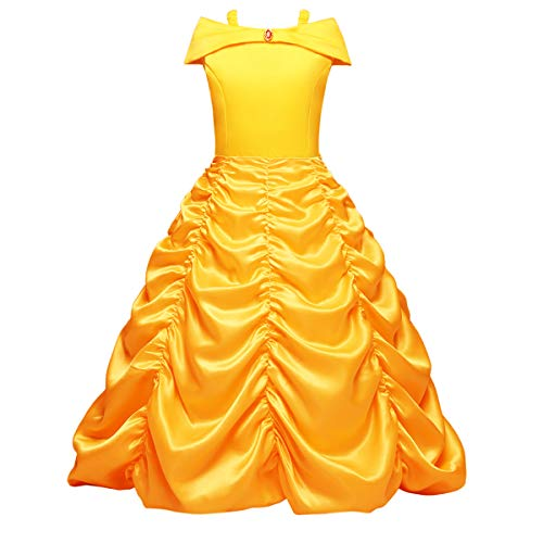 IWEMEK Mädchen Cosplay Kleider Prinzessin Belle Die Schöne und das Biest Kleid Kinder Karneval Drop Shoulder Falten Rock Party Ankleiden Märchen Kostüm Festlich Fasching Weihnachts Fancy Dress Up (Märchen Kostüme Für Fancy Dress)