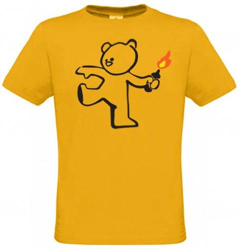 Teddybär Bombenleger Banksy Männer T-Shirt Kamelgold