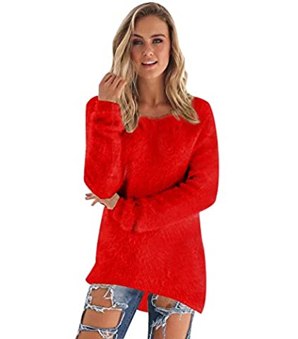 Pull Long Maille Femme Pull Tunique Manches Longues Col Rond Chaud Hiver Epais Pull Mohair Robe Habillé Sweater Tricot Chandail Jumper Tops Automne Rouge M