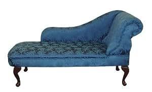 Simply Chaise Méridienne en damas feuilles Bleu