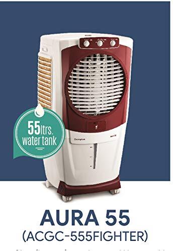Crompton Aura Woodwool 55-Litre Desert Cooler (White/Maroon)