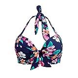 Lau's Damen Bikini Oberteil Neckholder bügel Badeanzug Oberteil Frauen gepolstert Bikini top Retro Blumen Blau EU 44-46