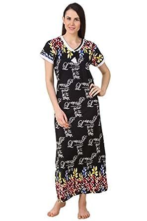 Fasense Women Sinker Cotton Nightwear Sleepwear Long Nighty DP200 (Black Multi, Medium)