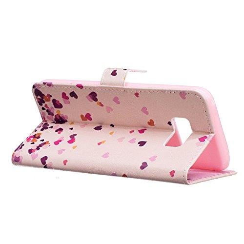 FESELE Schutzhülle für [Samsung Galaxy S8 Plus] Bunt Brieftasche Hülle Leder Tasche Flip Case Handyhülle mit Standfunktion und Magnetverschluss, Samsung Galaxy S8 Plus Bookstyle Retro Flip Hülle Case  Pink Liebe Herz