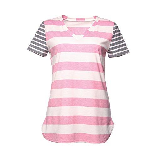 Zffde maglietta da donna corto t-shirt a manica lunga con stampa floreale a manica corta a righe bianche e nere per te (colore : pink, dimensione : xxl)