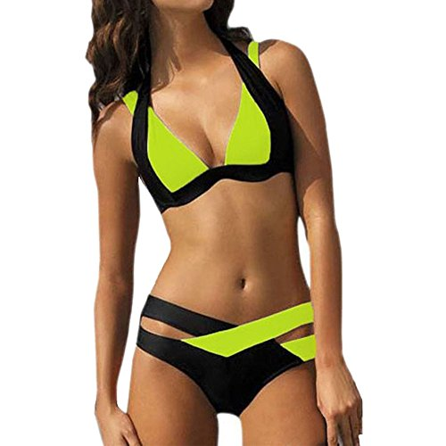 (VECDY Damen Bikini, Bikinis Bandage Sexy Badebekleidung Frauen Schwimmen Beach Wear Print Bandage Badeanzug Unterwäsche Badehose)
