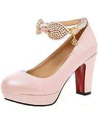 AIYOUMEI Damen Plateau Blockabsatz High Heels Pumps mit Knöchelriemchen und  Schleife Süß Schuhe 8f6b5ea933