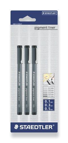 Preisvergleich Produktbild Staedtler 308S-9BK3D pigment liner schwarz, 3 Stück auf Blisterkarte