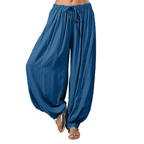 FeiBeauty Frauen Aladinhose,Volltonfarbe Boho Stil Haremshosen Sommerhose Plus Size Yoga Leinen Hosen Lose Sporthosen S/M/L/XL/2XL/3XL (Plus-size-leinen-hose)